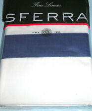 Sferra ORLO Standard Pillowcases White/Blue Cotton Percale w/Sateen Band New
