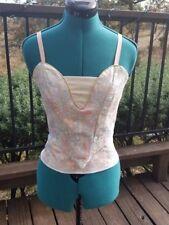 NEW Professional Pink Aqua Brocade Boned Adjustable Ballet Bodice Bust 28-34