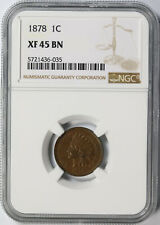 1878 1c Indian Cent NGC XF45BN