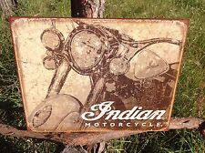 INDIAN MOTORCYCLE Antiqued Vintage Sign Tin Metal Wall Garage Rustic Old