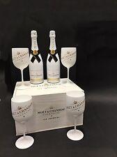 2x MOET Chandon Ice Imperial Champagne 0,75l 12% vol + 4 BICCHIERI + cassa di legno