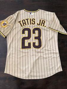 New Arrival Fernando Tatis Jr 23 San Diego Padres Jersey Pinstriped Gold 2021