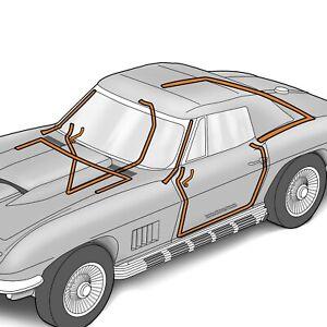1964-1967 Corvette C2 Convertible 8 Piece Body Weatherstrip Kit 644467