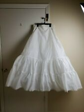 David's Bridal women 12 solid white long crinoline two-tiered tulle slip formal