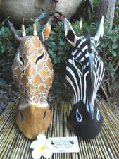 Zebra & Giraffe Wall Mask approx: 40cm - wood carving