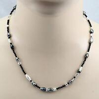 Spinell-Kette - facettierte Spinelle mit Keshi-Tahiti-Perlen und Silber 49,5 cm