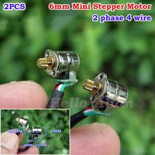2PCS Miniature 6mm 2-phase 4-wire Micro Mini Stepper Motor w/ Metal Copper Gear