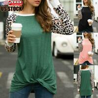 Women's Leopard Loose Long Sleeve Shirt Tunic Tops Ladies Casual Pullover Blouse