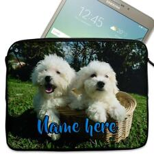 """Personalised Tablet Case BICHON FRISE DOG Sleeve Cover 7"""" 8"""" 9"""" 10"""" ST019"""