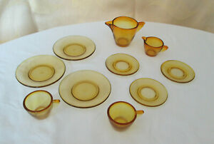 Akro Agate Childs Amber Stippled Band Dishes--10 Pieces--Marked