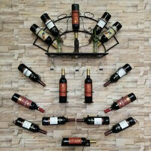 Iron Wall Mounted Wine Bottle Rack Holder Display Kitchen Bar Exhibition Shelf