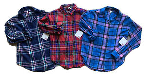 SO~Lot of 3~Plaid Flannel LS Button Down Shirts~Girls L 10/12~NWT $90~SO CUTE!!