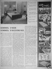 PUBLICITÉ 1948 FABRIQUE TRÉCA MATELAS TRECARITZ SOMMEIL D'HIER ET D'AUJOURD'HUI