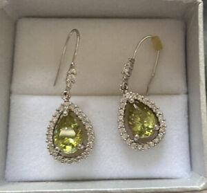 Sterling Silver 925 Peridot Drop Dangle Earrings Crystal Gemstone