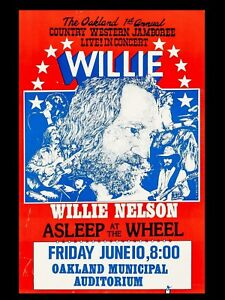 "Willie Nelson Oakland 16"" x 12"" Reproduction Concert Poster Photo"