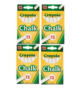 Crayola Chalk WHITE 12 Count Boxes (4 boxes x 12 sticks) NEW  48 Chalks Total