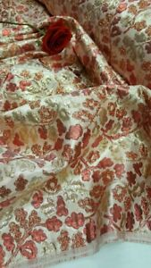 Burgundy/Gold Jacquard Brocade Cooper Floral Flowers Fabric By the Yard Luxury