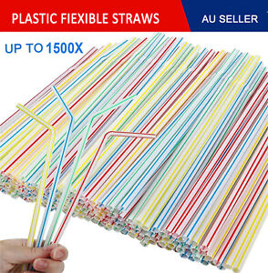 Up to 1500x Disposable Flexible Bendable Straw Plastic Drinking Drink Party Bulk