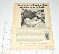 Quaker State Oil Vintage Print Ad 1970 Snowmobile Life Span Spark Plug