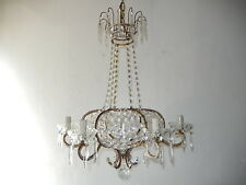 ~c 1920 French Beaded Crystal Prisms Cage Chandelier with Spear Gorgeous Rare~