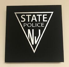 "NJSP New Jersey State Police TROOPER Leather Wall Hanging Decor Signage 10""X10"""