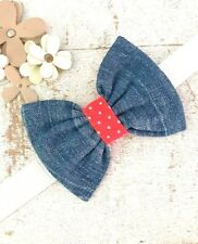 BLUE DENIM DOG BOW TIE WITH RED POLKA DOT CENTRE SLIDE ON COLLAR ELASTIC LOOP