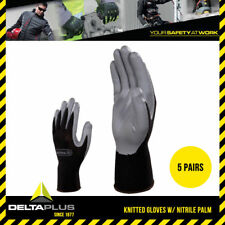 5x Delta Plus Polyster Knitted Gloves w/ Nitrile Palm Abrasion Resistance #VE712