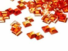 Lot (470) 11mm vintage Czech overlapping double square orange glass rhinestones
