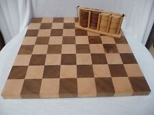 """Wooden Checker Board (14.75"""" Square) and 24 Checkers with Holder (25+ yrs old)"""