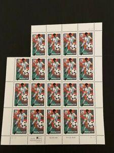 """Sc#2834 stamps 29c 1994 """"SOCCER  PLAYING  KICKING"""" Sheet of 19"""