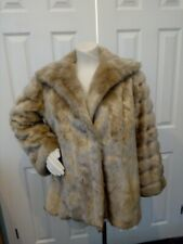 Womens Hand Made Faux Fur Loose Fit Jacket, Light Brown , lined ,size Large