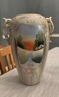"""Antique Hand Painted Nippon 11"""" Moriage Two Handled Vase"""