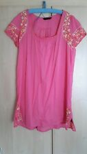 miss selfridge size 16 pink cotton embroidered beach/ pool dress