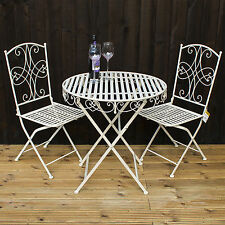 3pc Folding Bistro Set Round Metal Table 2 Chairs Outdoor Garden Patio New