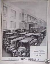PUBLICITÉ 1924 LA CAMIONNETTE UNIC EST INUSABLE - ADVERTISING