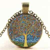 Vintage klimt tree of life Cabochon Glass Bronze Chain Pendant  Necklace