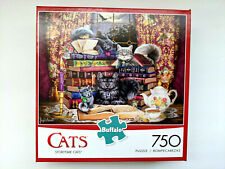 Buffalo Games 750 Piece Puzzle STORYTIME CATS Cat Kitten Books Tea Cup Mouse NEW