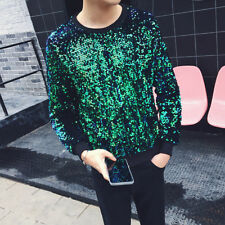 Men Sequin Bling Sweater Long Sleeve Glitter Pullover Shirt Top Shiny DJ Costume