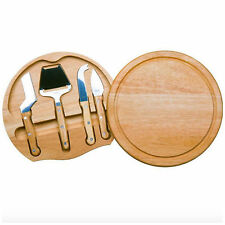 Wood Wooden Cheese Cutting Board Tray Plate Slicer Spreader Cutter Knife Set New