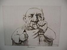 "Art print Charles Bragg artist black Lithograph ""Pediatrician"" Duotone Signed"