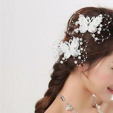 Lace Crystal Bead Bridal Jewelry Wedding Handmade Pearl Butterfly Hair Clip Pins