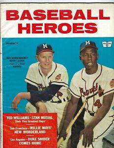 1958 Baseball Heroes magazine Hank Aaron, Red Schoendienst Milwaukee Braves GOOD
