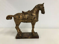 "Hand Carved Chinese Wooden Horse Sculpture Folk Art 9"" Tall Ornate Gilded"