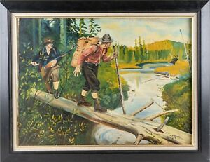 Antique Oil On Canvas Painting Hunting Genre Scene Landscape Signed WPA Style