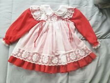 New listing Vintage Bryan 2pc Red/White Lace Trim Pinafore Dress Ruffles Size T3 3T