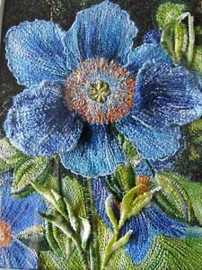 Mitra McQuilton Needle Art. Blue Poppies 3D Flower Still Life