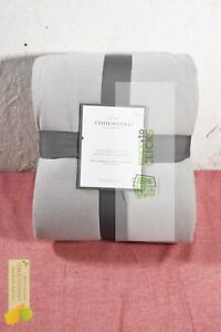 Threshold- Flannel & Sherpa Bed Blanket Full/Queen, Gray