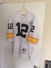 Terry Bradshaw Pittsburgh Steelers white jersey Mitchell & Ness Size 52 PERFECT!