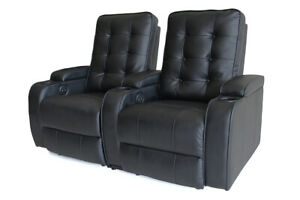 Sofa Electric Recliner LED Cupholder  Chair Bonded Leather 2 Seater Black Lounge