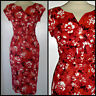 VINTAGE 40S CROSSOVER COTTON WIGGLE PENCIL DRESS 8 10 WWII HOURGLASS ROCKABILLY